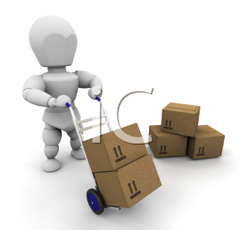 Royalty Free Clipart Image of a Man Moving Boxes