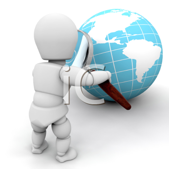 Royalty Free Clipart Image of a Person Looking at a Globe Through a Magnifying Glass