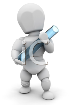 Royalty Free Clipart Image of a Person Holding a Test Tube