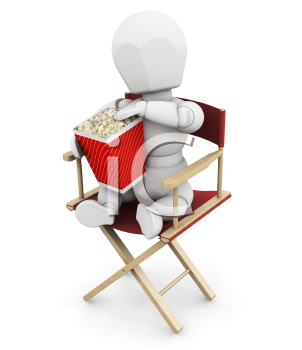 Royalty Free Clipart Image of a Person in a Director's Chair Eating Popcorn