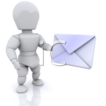 Royalty Free Clipart Image of a Person With Mail