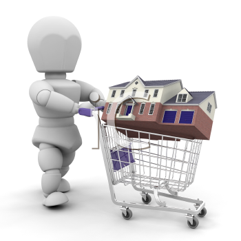 Royalty Free Clipart Image of a Person With a House in a Shopping Cart