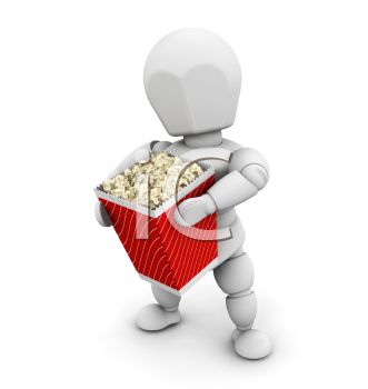 Royalty Free Clipart Image of a Person Holding Popcorn
