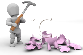 Royalty Free Clipart Image of a Person Who Has Broken a Piggy Bank With a Hammer