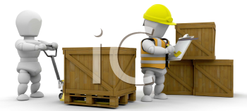 Royalty Free Clipart Image of a Workers Stacking Boxes