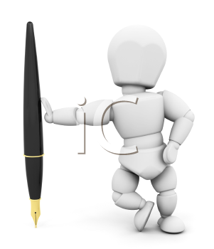 Royalty Free Clipart Image of a Person With a Fountain Pen