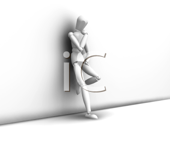 Royalty Free Clipart Image of a Man Leaning Against a Wall