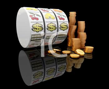 Royalty Free Clipart Image of a Fruit Machine Reel With Dollar Signs Showing and Coins