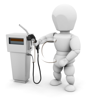 Royalty Free Clipart Image of a Person at a Fuel Pump