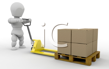 Royalty Free Clipart Image of a Guy With a Pallet Truck