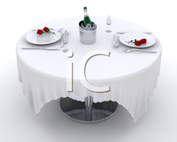 Royalty Free Clipart Image of a Romantic Tables Setting for Two