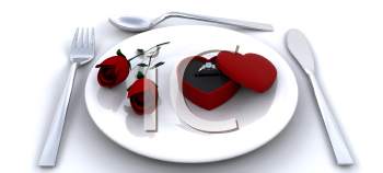 Royalty Free Clipart Image of a Place Setting With Roses and an Engagement Ring