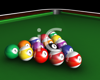 Royalty Free Clipart Image of a Pool Balls on a Table
