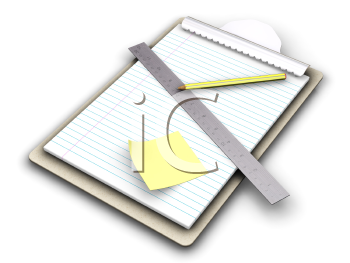 Royalty Free Clipart Image of a Clipboard With a Ruler and Pencil on Paper
