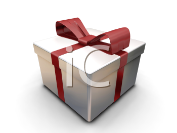 Royalty Free Clipart Image of an Present With a Red Bow