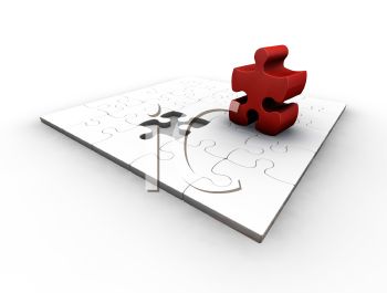 Royalty Free Clipart Image of a Puzzle With One Red Piece Standing Out