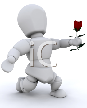 Royalty Free Clipart Image of a Person Giving a Rose