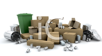 Royalty Free Clipart Image of a Boxes, Bins, Cans and Trash Ready For Recycling