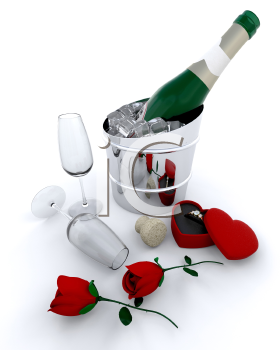 Royalty Free Clipart Image of Champagne and Roses