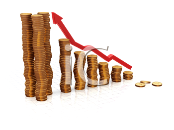 Royalty Free Clipart Image of a Bar Chart of Coins Indicating Profits