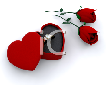 Royalty Free Clipart Image of an Engagement Ring and Flowers