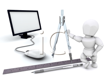 Royalty Free Clipart Image of an Architect With Tools