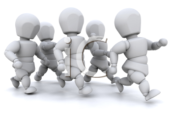 Royalty Free Clipart Image of a Group of People Running