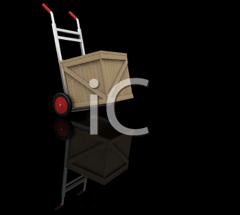 Royalty Free Clipart Image of a Hand Cart With a Crate