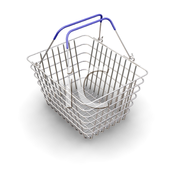 Royalty Free Clipart Image of a Wire Shopping Basket