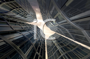 Royalty Free Clipart Image of a View Up To The Top of Skyscrapers