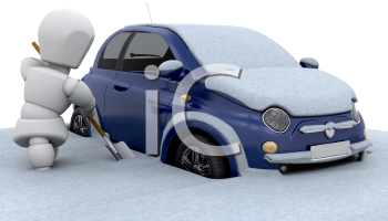 Royalty Free Clipart Image of a Person Digging Their Car Out of the Snow