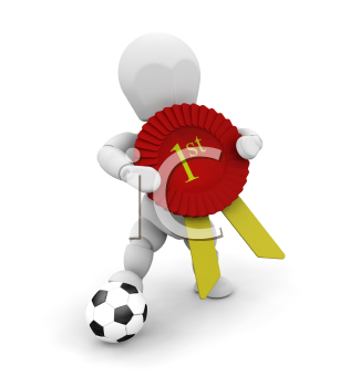 Royalty Free Clipart Image of a Soccer Player With a First Place Ribbon