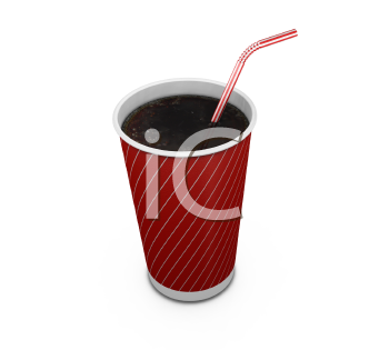 Royalty Free Clipart Image of a Soft Drink in a Plastic Cup With a Straw