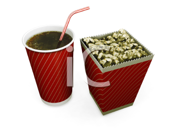 3D render of a soda drink and a carton of popcorn