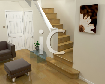 Royalty Free Clipart Image of a Room Showing the Staircase