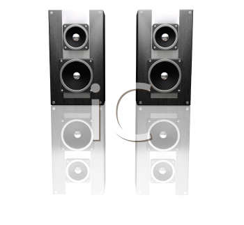 Royalty Free Clipart Image of Black Speakers
