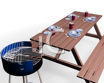Royalty Free Clipart Image of a Barbecue Picnic