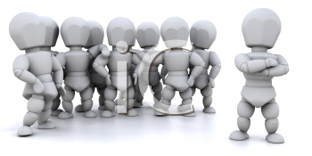 Royalty Free Clipart Image of a Team With One Person in the Foreground