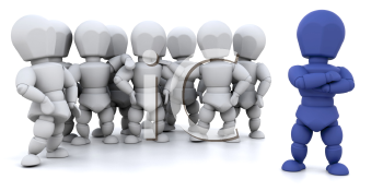 Royalty Free Clipart Image of a Blue Guy in Front of a Group of Other People