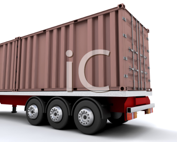 Royalty Free Clipart Image of a Freight Container on the Back of a Truck