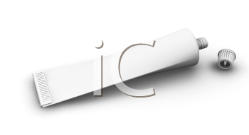 Royalty Free Clipart Image of a Blank Tube With the Lid Off