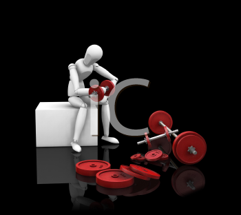 Royalty Free Clipart Image of a Guy Doing Bicep Curls