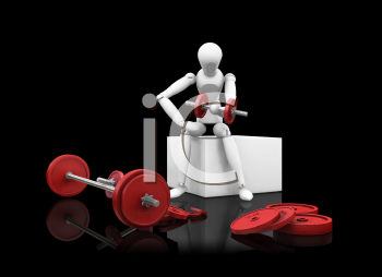 Royalty Free Clipart Image of a Person Doing Bicep Curls