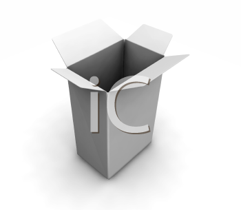 Royalty Free Clipart Image of an Open White Box