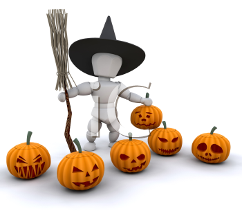 Royalty Free Clipart Image of a Witch With Pumpkins