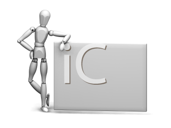 Royalty Free Clipart Image of a Person Leaning on a Sign