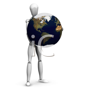 Royalty Free Clipart Image of a Guy Holding a Globe