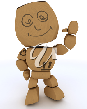 3D render of a Cardboard Box figure waving hello