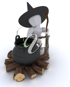 3D render of a witch with cauldron of eyeballs on log fire