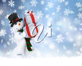 Christmas background of snowman carrying gifts
